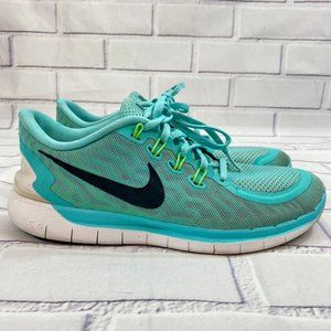 Nike Free 5.0 flex running teal blue trainer shoes
